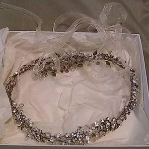 Beaded wedding hairpiece
